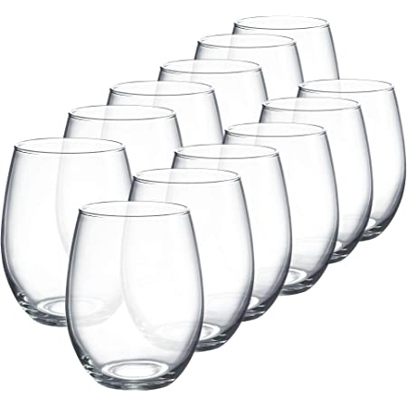 Amazon Com Luminarc Perfection Stemless Wine Glass Set Of 12 15 Oz Clear N0056 Mixed Drinkware Sets