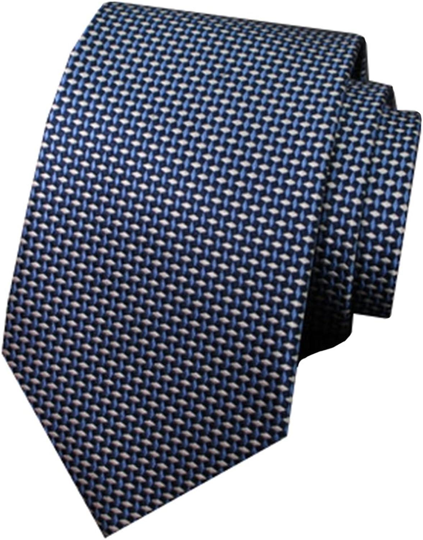Men's Business Narrow Version blueee Rhombic Pattern Groom Wedding Tie Mulberry Silk