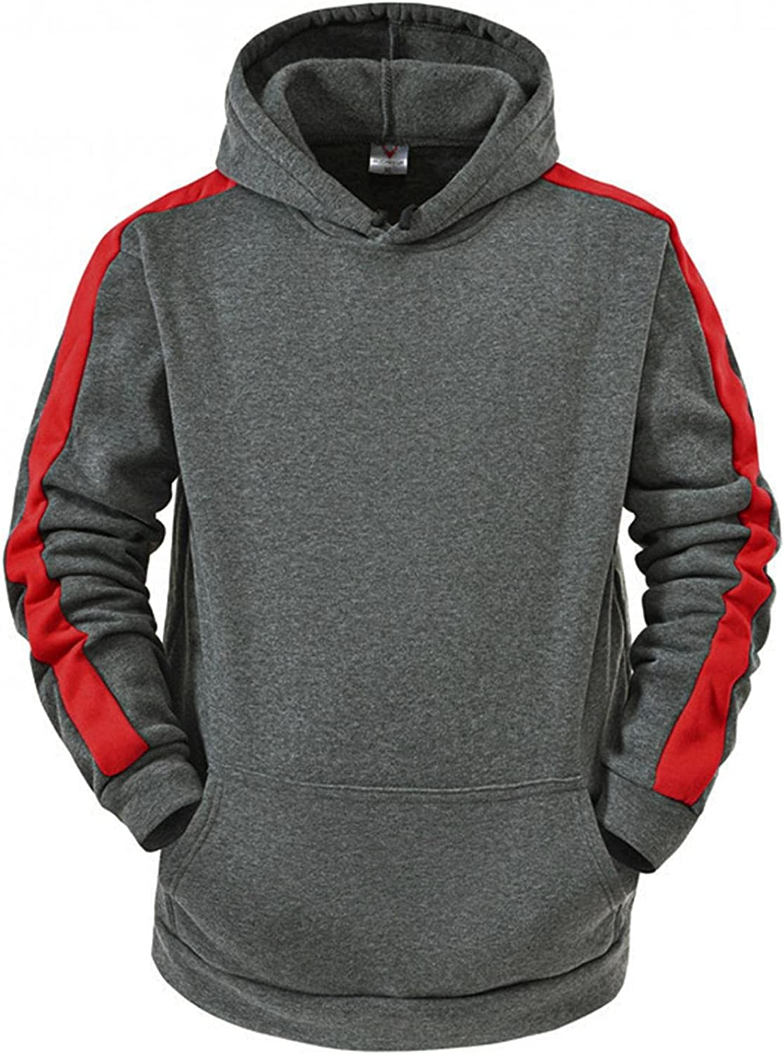 LEIYAN Mens Hoodie Pullover Casual Long Sleeve Color Block Oversized Sweatshirts Active Gym Workout Hoodie
