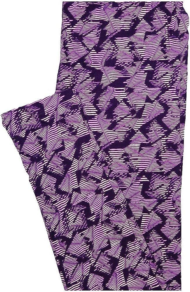 Lularoe One Size OS Light Dark Purple Stripe Geometric Buttery Soft Leggings - OS fits Adults 2-10