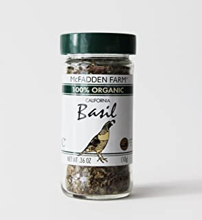 McFadden Farm Organic Basil, Dried Herb, Grown and packed in the U.S.A., 0.36 oz. in glass jar
