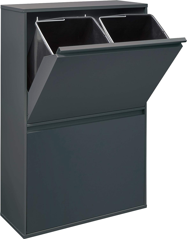 Arregui Basic CR604-B Cubo de Basura y Reciclaje de Acero con 4 Cubos, Gris Oscuro Antracita, 90,5 x 58,5 x 24,5 cm