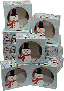 Christmas Cookie Gift Boxes, fold-able with Holiday Designs, Set of 12 Boxes (Winter Snowman)