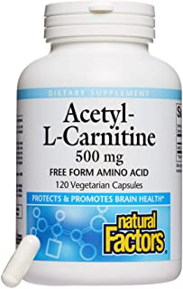 Natural Factors, Acetyl L-Carnitine 500 mg, Promotes a Healthy Memory, Concentration and Brain Function, 120 capsules (60 ...