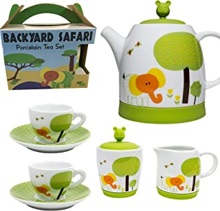 Premium 7 Piece Porcelain Kid's Tea Set - Enjoy hours of playtime fun - Backyard Safari design includes silicone lids to cushion and protect - Safe and BPA Free - Great gift for any child!