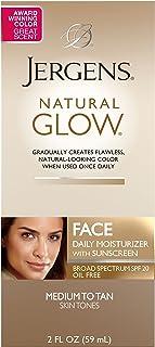 Jergens Natural Glow Face Daily Moisturizer Sunscreen SPF 20, Medium to Tan Skin Tones, 2 Ounce