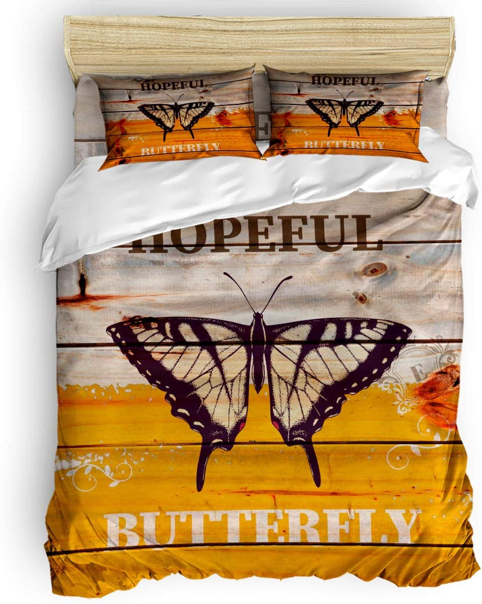 Hopeful Butterfly 4PCS Duvet Cover Louisville-Jefferson County Mall Set Comforter 1 King At the price of surprise Size Co