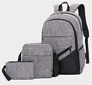 Casual Daypack,Large-Capacity Laptop Backpack,Outdoor Travel Backpack 3 Piece Set for Teenagers Gray