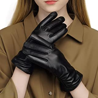 Womens Winter Leather Touchscreen Texting Warm Driving Lambskin 100% Pure Genuine leather Gloves