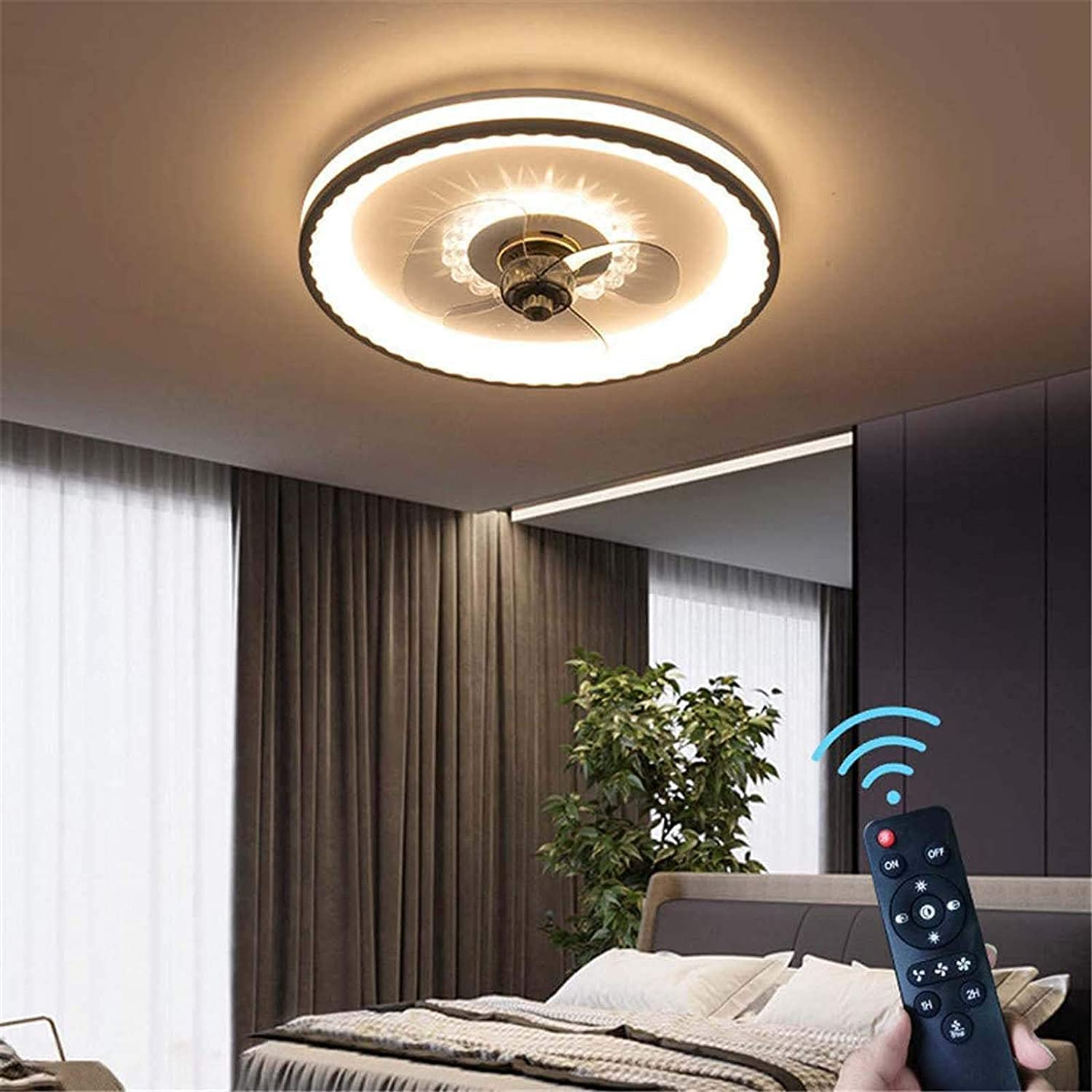 Fan Light with Lighting Acrylic Max 51% OFF Max 90% OFF Dimmable Circular Ceiling