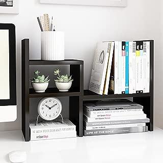 Jerry & Maggie - Desktop Organizer Office Storage Rack Adjustable Wood Display Shelf   Birthday Gifts - Toy - Home Decor   - Free Style Rotation Display - True Natural Stand Shelf Black