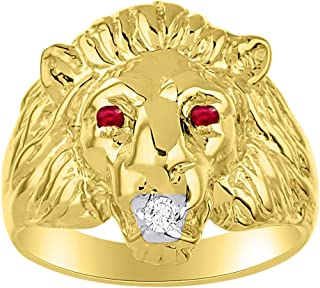 Lion Head Ring set with Genuine Diamond in mouth & Natural Rubies in eyes Yellow Gold Plated over Silver .925