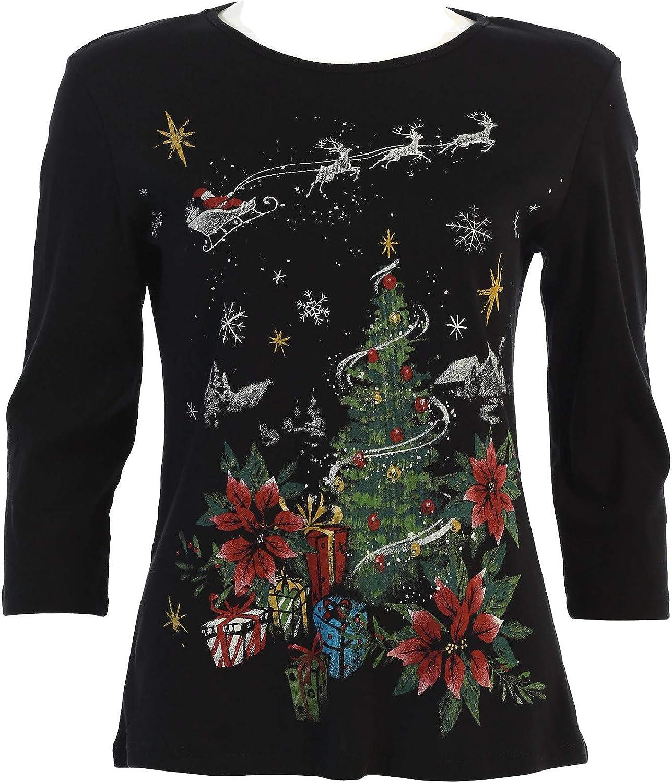Jess & Jane Women's Dear Santa Cotton Tee Shirt Top