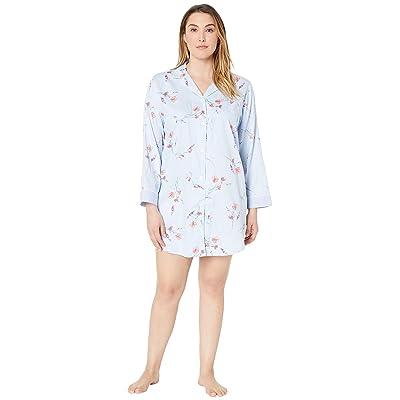LAUREN Ralph Lauren Plus Size Pointed Notch Collar Sleepshirt (Blue Floral Print) Women