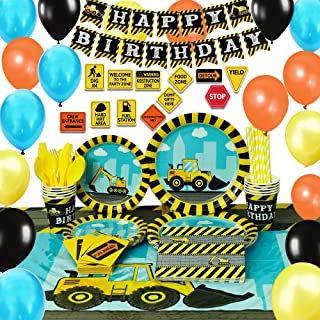 WERNNSAI Construction Party Supplies Set - Dump Truck Party Decorations for Boys Kids Birthday Banner Balloons Signs Cutle...