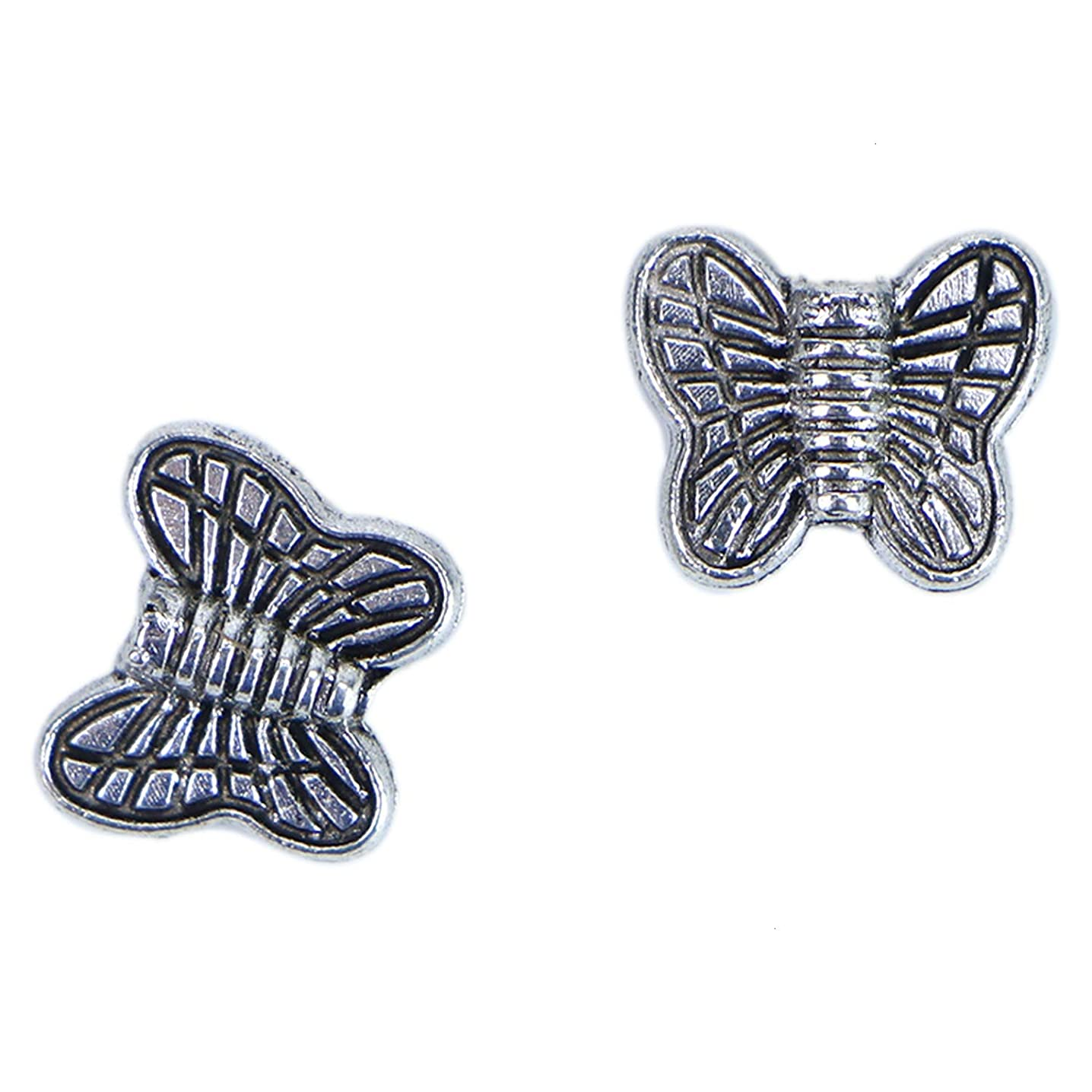 Monrocco 100 Pack Antique Silver Tibetan Butterfly Spacer Beads Animal Metal Beads Loose Beads for Bracelets Jewelry Making