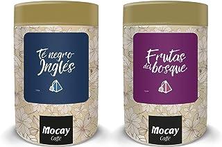 Mocay – Pack Mixto de Infusiones – 1 Lata de 40 Pirámides Sabor Frutos Rojos – 1 Lata de 40 Pirámides Sabor Té Negro – 80 ...