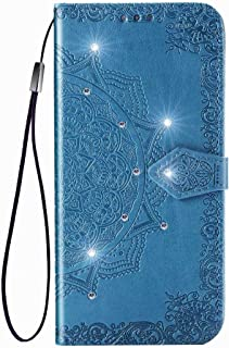 Honor Play 4T Pro Flip ケース Leather,Hllycr Protective Purse ケース for Huawei Honor Play 4T Pro 手帳型 ポーチ ID&クレジットカードホルダー - Blue