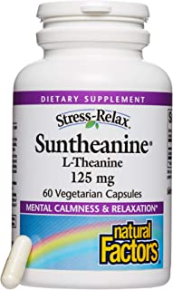 Stress-Relax Suntheanine L-Theanine 125 mg by Natural Factors, Non-Drowsy Stress Support for Mental Calmness and Relaxation, 60 capsules (30 servings)