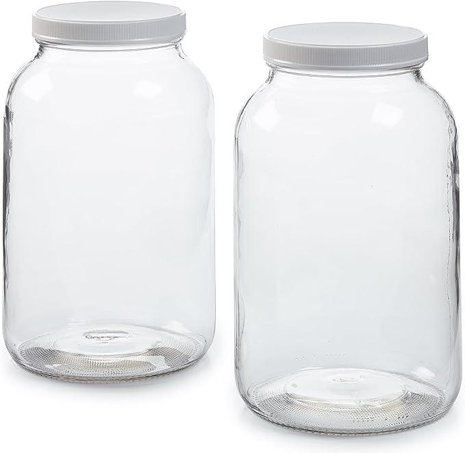 Amazon.com: Paquete de 2 tarros de cristal de 1 galón con tapa hermética de  plástico, paño de muselina, banda de goma, boca ancha fácil de limpiar,  apto para lavavajillas, Kombucha, kefir, conservas,