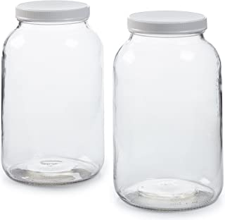 2 Pack - 1 Gallon Glass Jar w/Plastic Airtight Lid, Muslin Cloth, Rubber Band - Wide Mouth Easy to Clean - BPA Free & Dish...