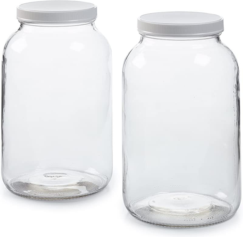 2 Pack 1 Gallon Glass Jar W Plastic Airtight Lid Muslin Cloth Rubber Band Wide Mouth Easy To Clean BPA Free Dishwasher Safe Kombucha Kefir Canning Sun Tea Fermentation Food Storage