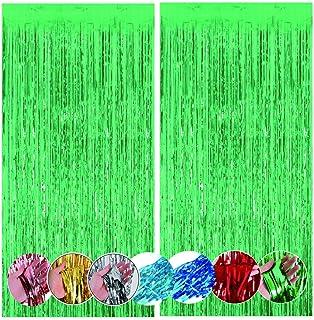 قطعتان من ستائر مبهرجة معدنية خضراء مقاس 3 أقدام × 9 أقدام، ستارة خلفية لتزيين الحفلات، مناسبة لأعياد الميلاد وحفلات الزفا...