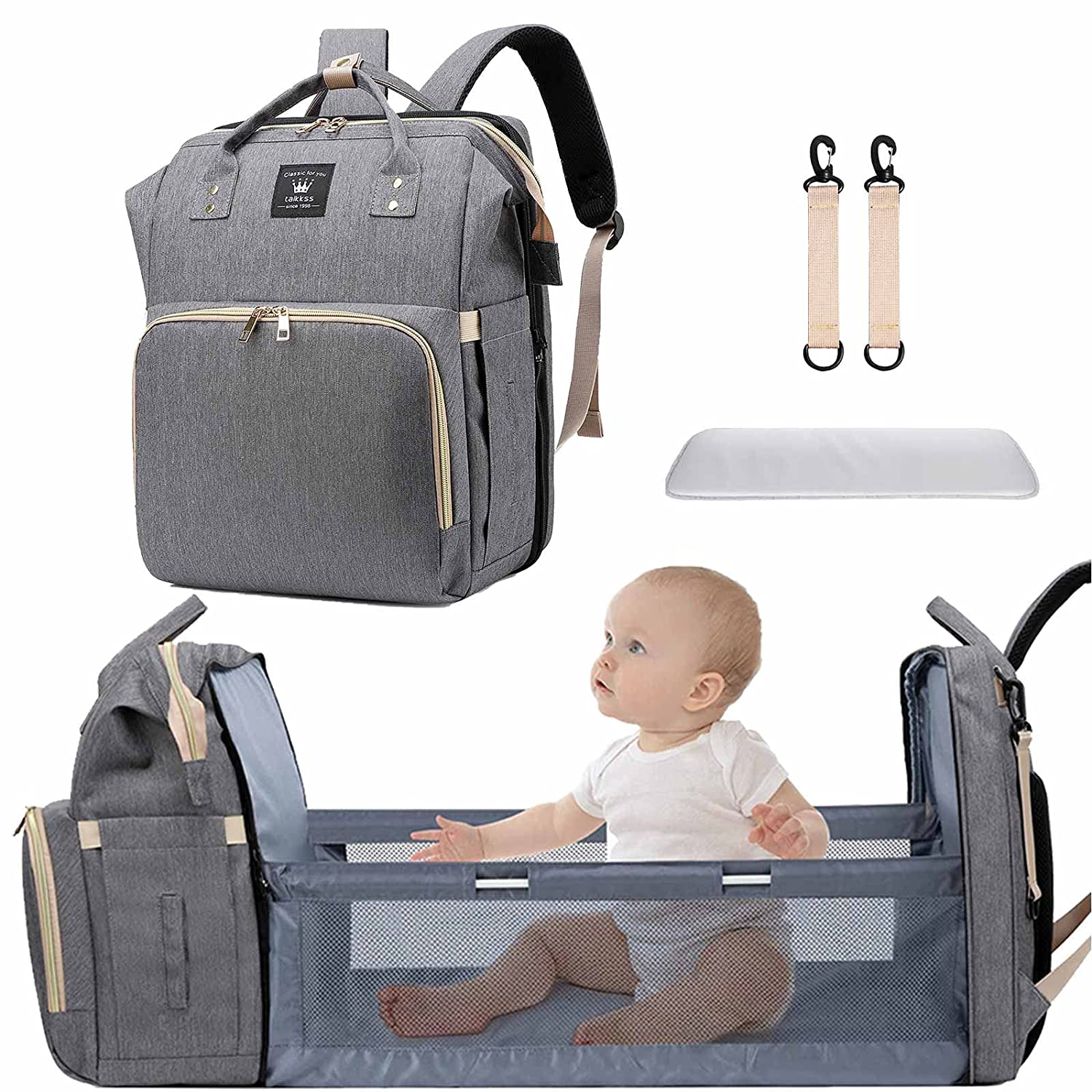 Diaper Bag Backpack with Baby Changing Station, 3 in 1 Multifunction Mommy Bag, Large Capacity/Multi-pocket/Waterproof/Gray