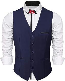 iClosam Men's Waistcoats Classic Paisley Vest Suit Set Slim Fit Formal Wedding Business Vest