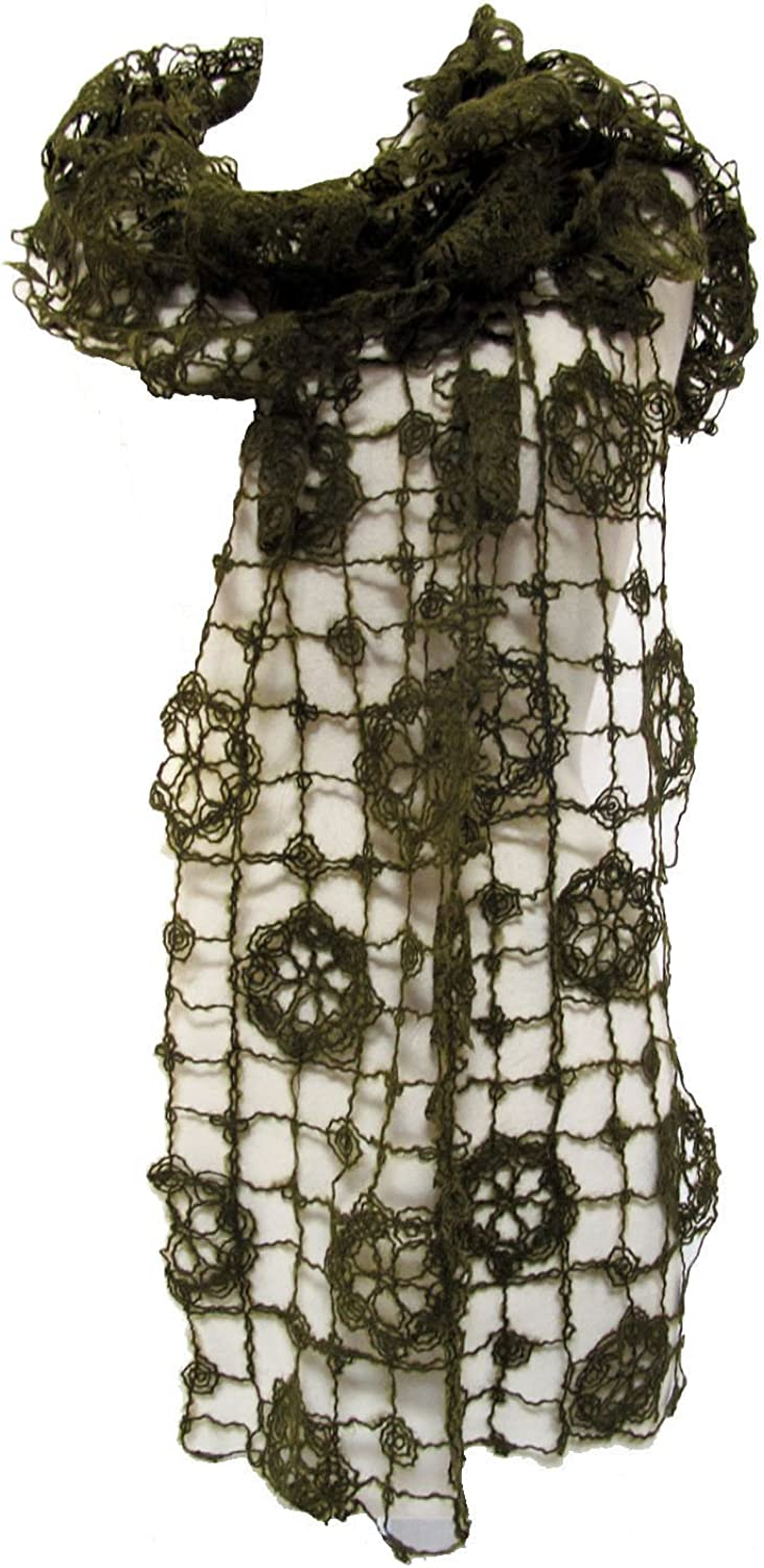 Crocheted Stole Wrap Scarf Shawl Olive Green