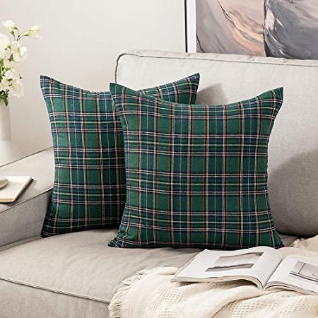 Christmas Tartan  Green And Gold 18x18 Square Throw Pillow by Spoonflower Forest Green Check Throw Pillow Christmas Plaid by adenaj