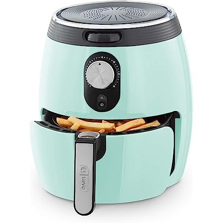 DASH DMAF355GBAQ02 Deluxe Electric Air Fryer + Oven Cooker with Temperature Control, Non Stick Fry Basket, Recipe Guide + Auto Shut off Feature, 3qt, Aqua