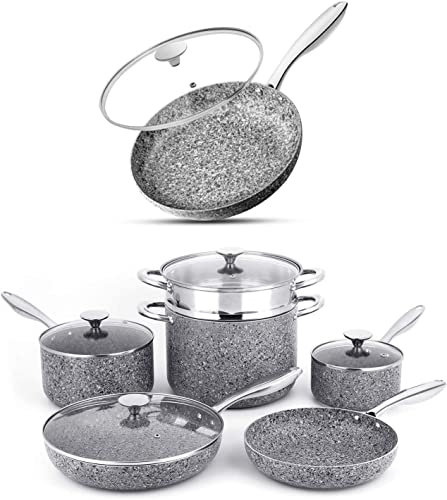 MICHELANGELO Stone Cookware Set 10 Piece+11 Inch Frying Pan with Lid Ultra Nonstick Pots and Pans Set with Stone-Derived Coating, Stone Cookware Set Nonstick, Stone Pots and Pans Set