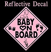 Baby on Board Decal Black & Pink Reflective with Graphics