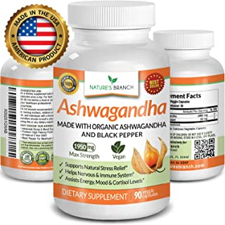 Organic Ashwagandha Capsules with Black Pepper - 1950mg Maximum Strength - Stress Relief and Anti Anxiety, Thyroid Adrenal Support, Mood Pure Root Powder Extract Supplements - Extra Strength 90 Pills