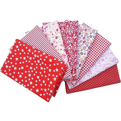 KING DO WAY Lot De 8 Pcs 50cmX50cm Tissu Coton Couture Artisanat DIY Fabric Sewing Floral-Rouge