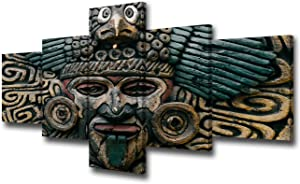 Aztec Canvas Pictures for Wall Totem Pole Sculpture Painting Religious Gods Faces Artwork 5 Piece Prints Wall Art Home Modern Decor Framed Gallery-Wrapped Ready to Hang in Living Room (50'W x 24''H)