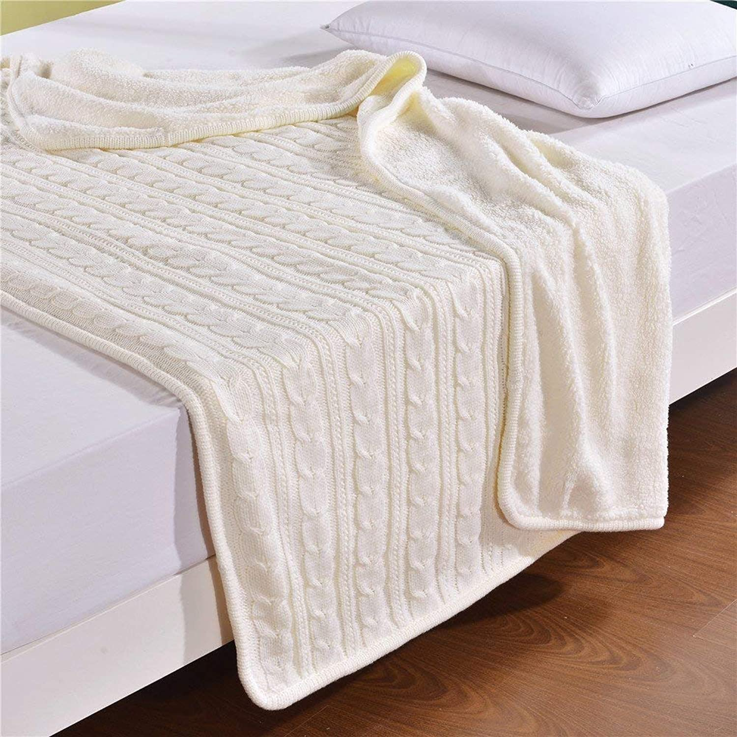 MisDress Cable Knit Sherpa Throw Blanket Thick and Reversible Fleece Sweater Blanket Super Soft Cozy Sofa\Couch\Air Conditioning Blankets White 59 x79