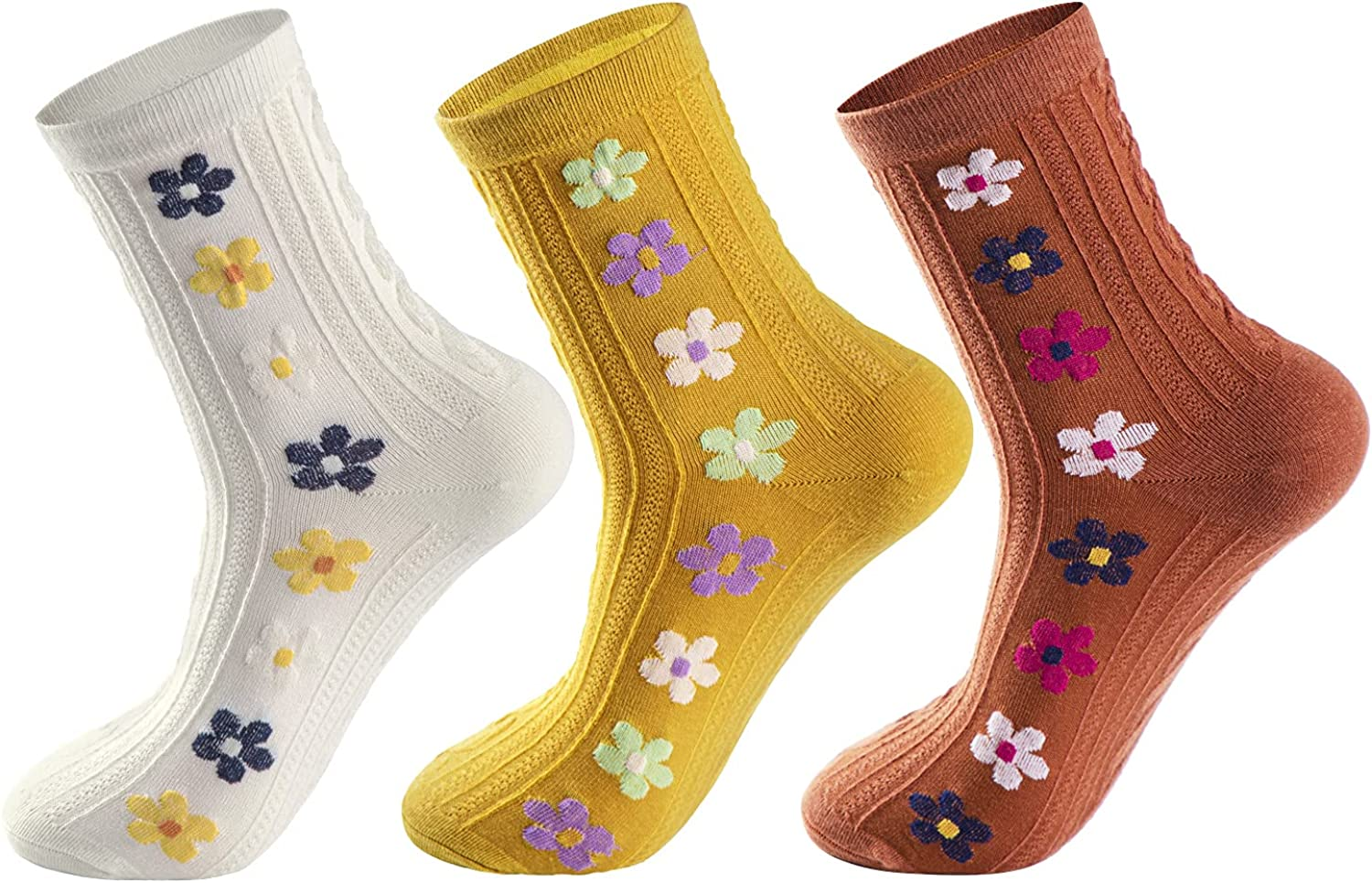 Lacholin Women 3/6 Pairs Cotton Crew Socks Casual Colorful Novelty Flower Patterned Mid-calf Cable Knit Socks for Girls