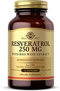 Solgar Resveratrol with Red Wine Extract, 250 mg, 60 Softgels - Antioxidant Protection - Immune Support - Red Wine Polyphe...