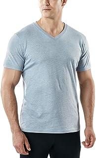 TSLA Men's HyperDri Cool Dri Running Top MTS Series, Active Dyna Cotton V Neck(mts51) - Oxford Grey, Medium