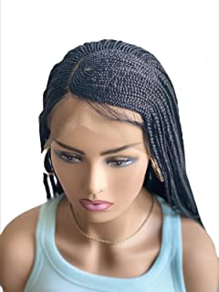 JBG SERVICES Authentic Braided Wigs - C-CUT Amina Cornrow Braid For African American Women - 13 X 4 Lace Frontal Closure For Natural-Look Hairline - 2 Hair Pins Included - Color 1 Jet Black