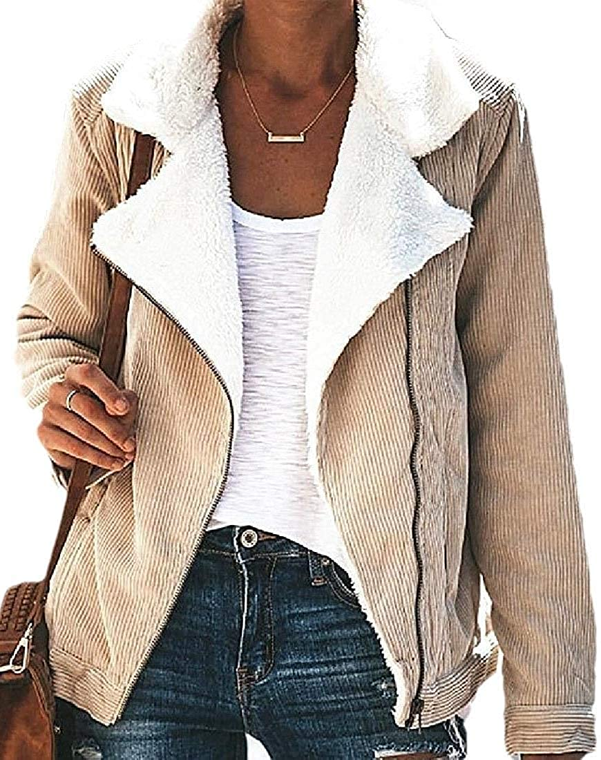 andrea scott Womens Lined Corduroy Thickened Warm Quilted Jacket Khaki