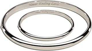 """Sterling Silver Mom and Me Bangle Set with""""Never Ending Love"""" Inscription for Mother and Daughter"""