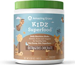 Amazing Grass Kidz Superfood: Organic Vegan Superfood Nutrition Shake for Kids, Greens, Fruits, Veggies with Pre and Pro Biotics, Outrageous Chocolate, 30 Servings