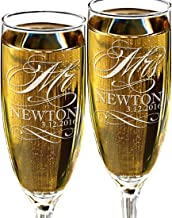 Mr and Mrs Champagne Wedding Glasses, Set of 2 Personalized Toasting Flutes, Engraved Mr and Mrs Wedding Toast Glass Flutes, Bride and Groom Gift