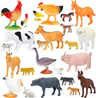 Large Farm Animals Figures, Realistic Simulation Jumbo Plastic Farm Animal Toys Learning Educational Playset Party Favors Bath Toys Cupcake Toppers for Toddlers Kids
