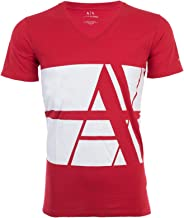Armani Exchange Bold Striped Logo Men T-Shirt Premium Slim Fit RED White Designer