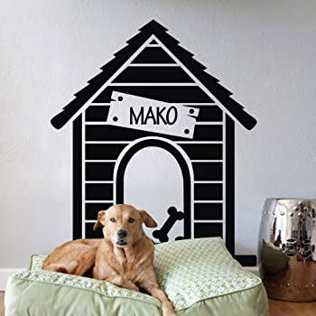 Dog House with Name Wall Sticker Wall Chick Decal Art Sticker Quote