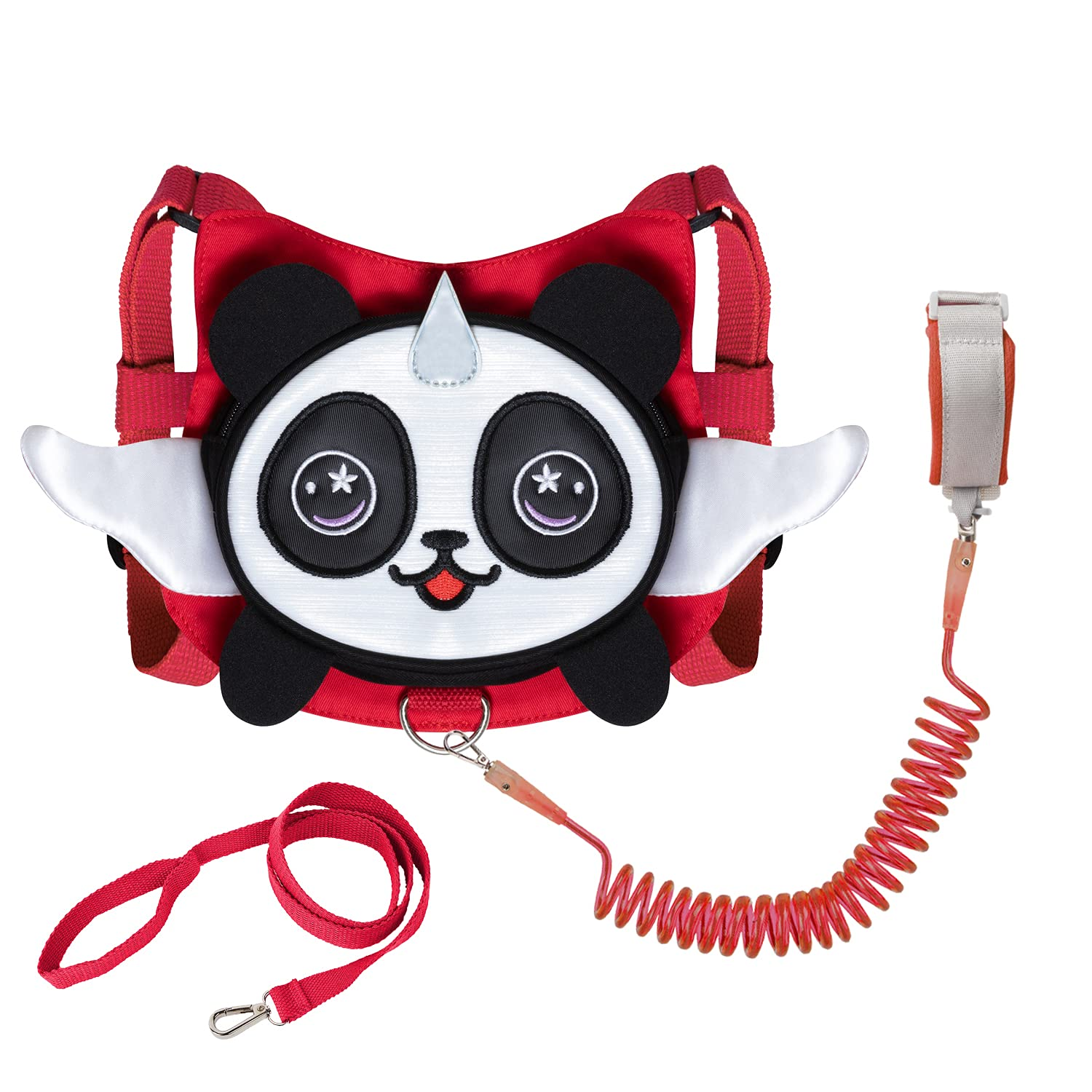 Panda Toddler Harness with Leash Child Kid Anti-Lost Wristlet Leash Wristband (Red)